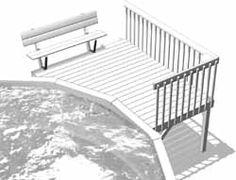 Patio Escargot • Plateforme, rampe, banc et boîte à fleurs en bois traité