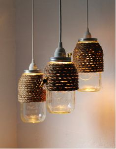 Twine wrapped mason jar lights.