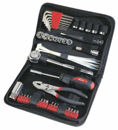 Apollo Precision Tools DT9774 56 Piece Auto Tool Kit Zippered Case Basic tools This includes a set of socket and open-end wrenches, a multi-tip screwdriver, and pliers. This should be enough to perform simple jobs such as changing a lightbulb, tightening battery cables, and so on. Even if you don't know what to do, a Good Samaritan will still need something to work with.