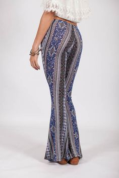 Lotus Boutique - Blue Print Palazzo Bell Bottom Pants #bells #palazzo #obsessed #adore #printed #aztec