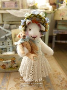 OOAK Miss Blue Bunny and her trousseau - Romantic blue - Accessory for dollhouse at 1:12th scale