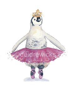 Pingüino de imprimir acuarela acuarela de 8 x por WaterInMyPaint