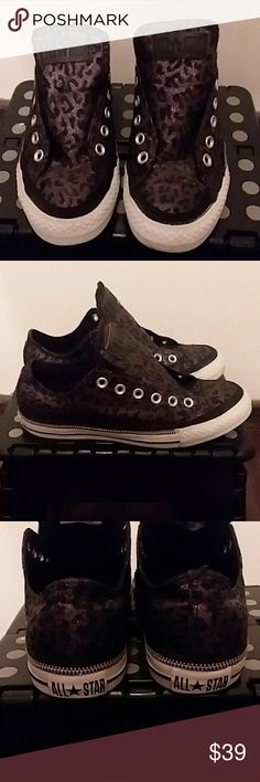 Converse Sneakers Excellent condition Converse sneakers! Sparkly purple and black leopard print with cute zipper detail! Laces are currently soaking and will be put back in before shipping! Size 7 Converse Shoes Sneakers