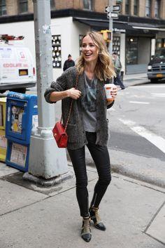 anine bing niece new york leather pants knit cardigan