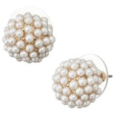 gold pearl button stud earrings