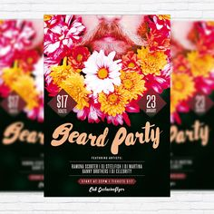 Beard Party - Premium Flyer Template + Facebook Cover http://exclusiveflyer.net/product/beard-party-premium-flyer-template-facebook-cover/