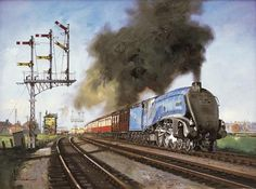 steam trains british in paintings - Custom Oil Paintings Diesel Locomotive, Steam Locomotive, Uk Rail, Holland, Steam Railway, Bonde, Train Art, British Rail, Train Engines