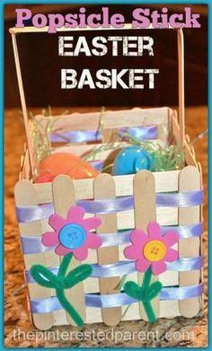 Popsicle Stick Easter Basket Craft Easter Art, Easter Projects, Easter Crafts For Kids, Diy For Kids, Easter Ideas, Easter Decor, Easter Eggs, Art Projects, Popsicle Stick Crafts