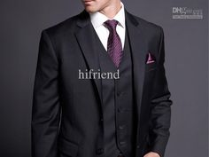 Wholesale custom made new design silm high quality 2 button 3 pcs black men's suits wedding suits bridegroom E98, Free shipping, $119.9-149.5/Set | DHgate