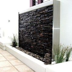 outdoor water wall fountains: outdoor water features garden water fountains and exterior water walls Stone Water Features, Outdoor Water Features, Outdoor Wall Fountains, Outdoor Walls, Water Fountains, Garden Fountains, Outdoor Spaces, Design Cascade, Water Wall Fountain