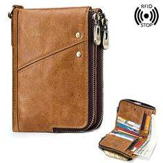 0a097919e3d0a Hot-sale GZCZ RFID Genuine Leather 12 Card Slot Casual Multifunction Wallet  Double Zip Retro