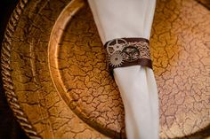 Steampunk Victorian Charger and napkin with gear themed napkin ring