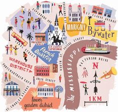 Anna Simmons - Map of New Orleans for National Geographic traveller. Travel and map illustration New Orleans Map, New Orleans Travel Guide, Nova Orleans, New Orleans Vacation, Visit New Orleans, Travel Maps, Travel Posters, Travel Usa, Places To Travel