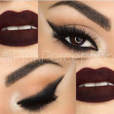 Autumn/Winter Make Up Love the dark lip Makeup On Fleek, Kiss Makeup, Flawless Makeup, Cute Makeup, Gorgeous Makeup, Pretty Makeup, Makeup Goals, Makeup Inspo, Makeup Tips