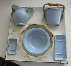 Antique doll German Miniature blue enamel graniteware chamber set #dollshopsunited