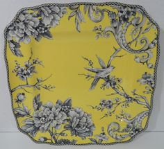 "Set 4 Adelaide Dinner Plate Yellow Porcelain 10-3/4"" French Toile 222 Fifth NEW #222Fifth"