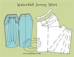 well-suited: Pattern Puzzle - Waterfall Jersey Skirt i want one of these skirts. Maybe one day i can learn how to sew Techniques Couture, Sewing Techniques, Pattern Cutting, Pattern Making, Dress Sewing Patterns, Clothing Patterns, Skirt Sewing, Skirt Patterns, Diy Clothing