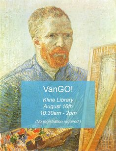Kline Library will be visited next Thursday (8/16) by VanGo!, the art museum on wheels. Look at original works of art and learn about the work and tools museums use to present it.