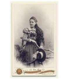 Beautiful Girl Long Hair Plaid Dress Hat CDV Photo 1890s Fashion   eBay
