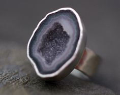 Geode Ring on Hammered Sterling Silver Band
