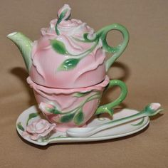 Enchanted Rose Teapot for One With Spoon