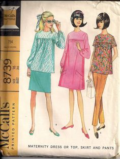 Vintage 60s Sewing Pattern MATERNITY DRESS, Shirt, Trousers and Skirt by HoneymoonBus, $9.99