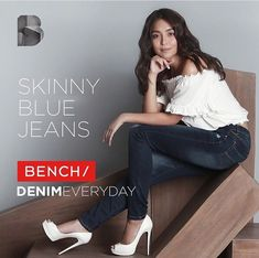 Here is Kathryn Bernardo endorsing on Bench Skinny Blue Jeans this year. She's a proud endorser of Bench, which are pure Filipino casual products for men and ladies. She was dressed in a white blouse, medium denim blue wash skinny jeans, and white high-heeled peep-toe platform pumps (which are the Christian Louboutin Lady Peep in white). She looks very pretty and charming on this advertisement for Bench. Dark Denim, Blue Denim, Blue Jeans, Best White Jeans, Filipina Actress, Kathryn Bernardo, Casual Outfits, Fashion Outfits, Child Actresses