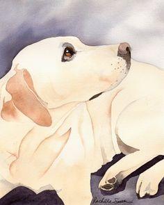 yellow labrador retriever art | Labrador Retriever (Yellow Lab) dog art print from watercolor painting ...