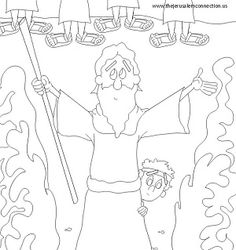 We Have The Cutest Original Coloring Page For Passover Here Is Moses Parting Red