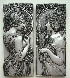 Art Deco Art Nouveau Silver Effect Plaques by Alphonse Mucha Art Deco, Art Nouveau Design, Art Nouveau Mucha, Alphonse Mucha Art, Jugendstil Design, Illustrator, Large Art, Art And Architecture, Graphic