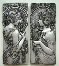Mucha style art nouveau plaques in silver effect