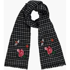 Daisy Embroidery Checked Woven Scarf (€18) ❤ liked on Polyvore featuring accessories, scarves, woven shawl, braided scarves, woven scarves, checkered scarves and embroidered scarves