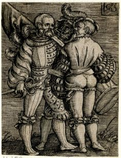 Print made by Jacob Binck Date1520-1561The standard-bearer, the piper and the drummer; whole-length figures standing, from left to right.Engraving