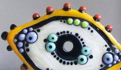 Zuma Eye Disc in CreamHandmade Lampwork Bead by beadygirlbeads, $30.00