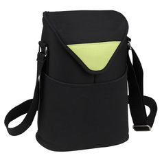 Picnic At Ascot Double Bottle Insulated Wine Tote Black and Apple Green - 412-A
