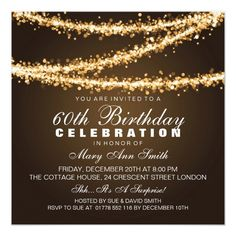 Elegant 60th Birthday Party Gold String Lights Invitation Invitations Uk Templates