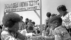 Sickle cell anemia testing at the Black Community Survival Conference, March 30, 1972  Photo credit: Bob Fitch — in Oakland, California.