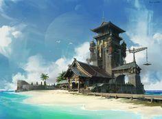 Beach and Chinese style architecture, lok du on ArtStation at https://www.artstation.com/artwork/4EGrW