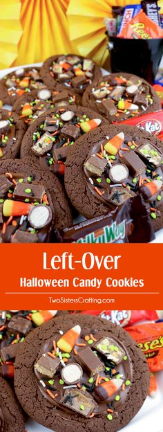 Left-Over Halloween Candy Cookies - chocolate cookies topped with some of that Halloween Candy you have hanging around the house. Yummy cookie! Great idea! This is a great Halloween Treat that the kids will love. Pin this Halloween cookie for later and follow us for more great Halloween Food ideas.
