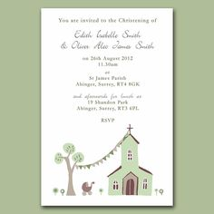 christening invitation twins