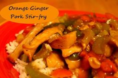 Orange Ginger Pork Stir-fry  http://www.momspantrykitchen.com/orange-ginger-pork-stir-fry.html