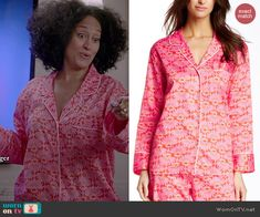 Natori Fleur Pajamas in Mandarin Orange worn by Tracee Ellis Ross on Black-ish