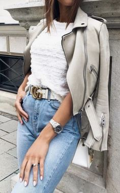 white ruffle top + levis mom jeans + white gucci belt outfit + cream leather moto jacket   #ootd #outfitideas   best casual outfit ideas for women