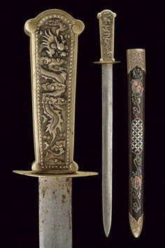 A silver mounted and mother of pearl decorated dagger, Vietnam, circa 1900 - Alain. Swords And Daggers, Knives And Swords, Tibetan Art, Military Guns, Tactical Knives, Weapons, Geek Stuff, Pearls, Silver