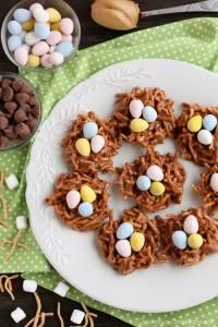 Peanut Butter Chocolate Nests on MyRecipeMagic.com Peanut Butter Chocolate Nests are so quick to whip up, for a chewy, chocolatey, Easter treat!