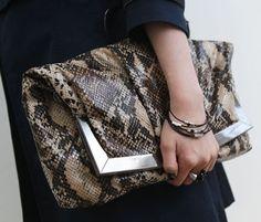 $55 Snakeskin Clutch Bag / Clutch bag for Chic / Anaconda print / Made in Korea! | eBay