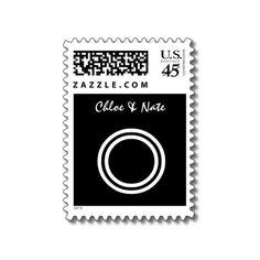 ~ O ~ Wedding Monogram Stamp in Modern Black and White