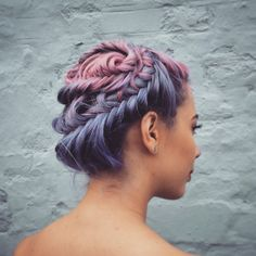 Plaited pink and purple hair