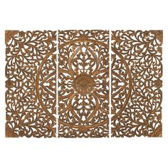 Wood wall plaque with an intricate medallion and scrolled leaf detail.  Product: Set of 3 wall decorConstruction Ma...
