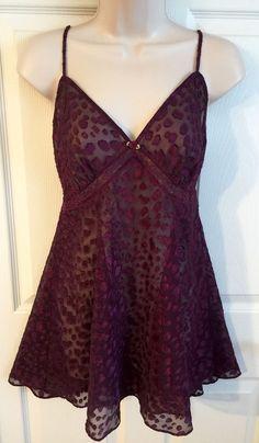Gillian & O'Malley SLIP CHEMISE NIGHTGOWN sz M Purple Burn Out Lingerie Nightie  | eBay